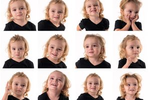A child expressing many different emotions