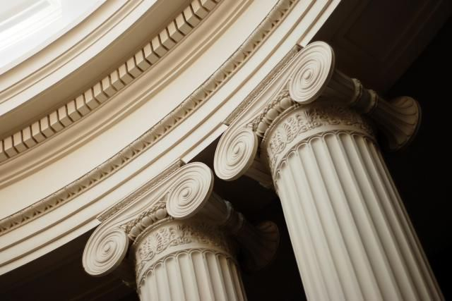 Ionic Column capitals are characterized by swirling volutes that look like ram horns