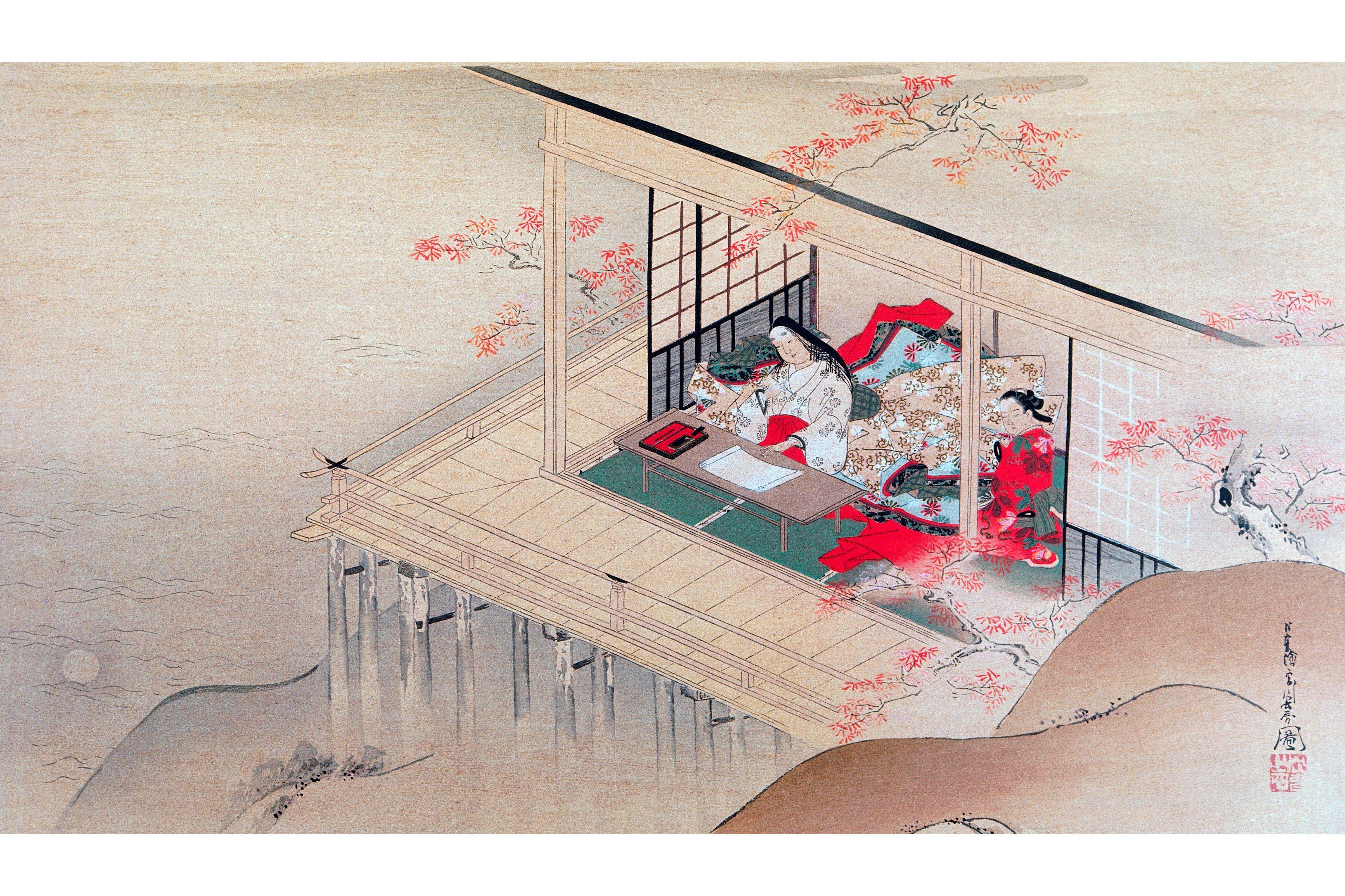 Poet Murasaki-No Shikibu. Woodcut by Choshun Miyagawa (1602-1752).