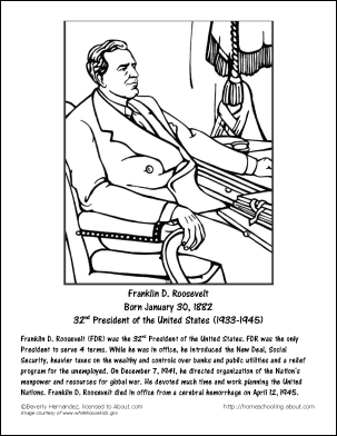 roosevelt coloring pages - photo#10