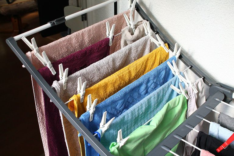 clothes drying on rack