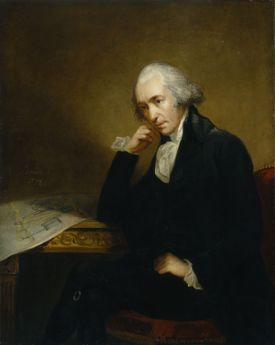 Portrait of James Watt leaning on his hand over a blueprint on a desk.
