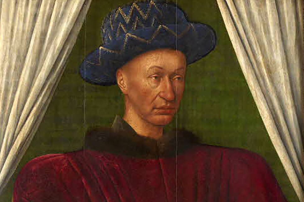 Charles VII of France in a red shirt and blue hat.
