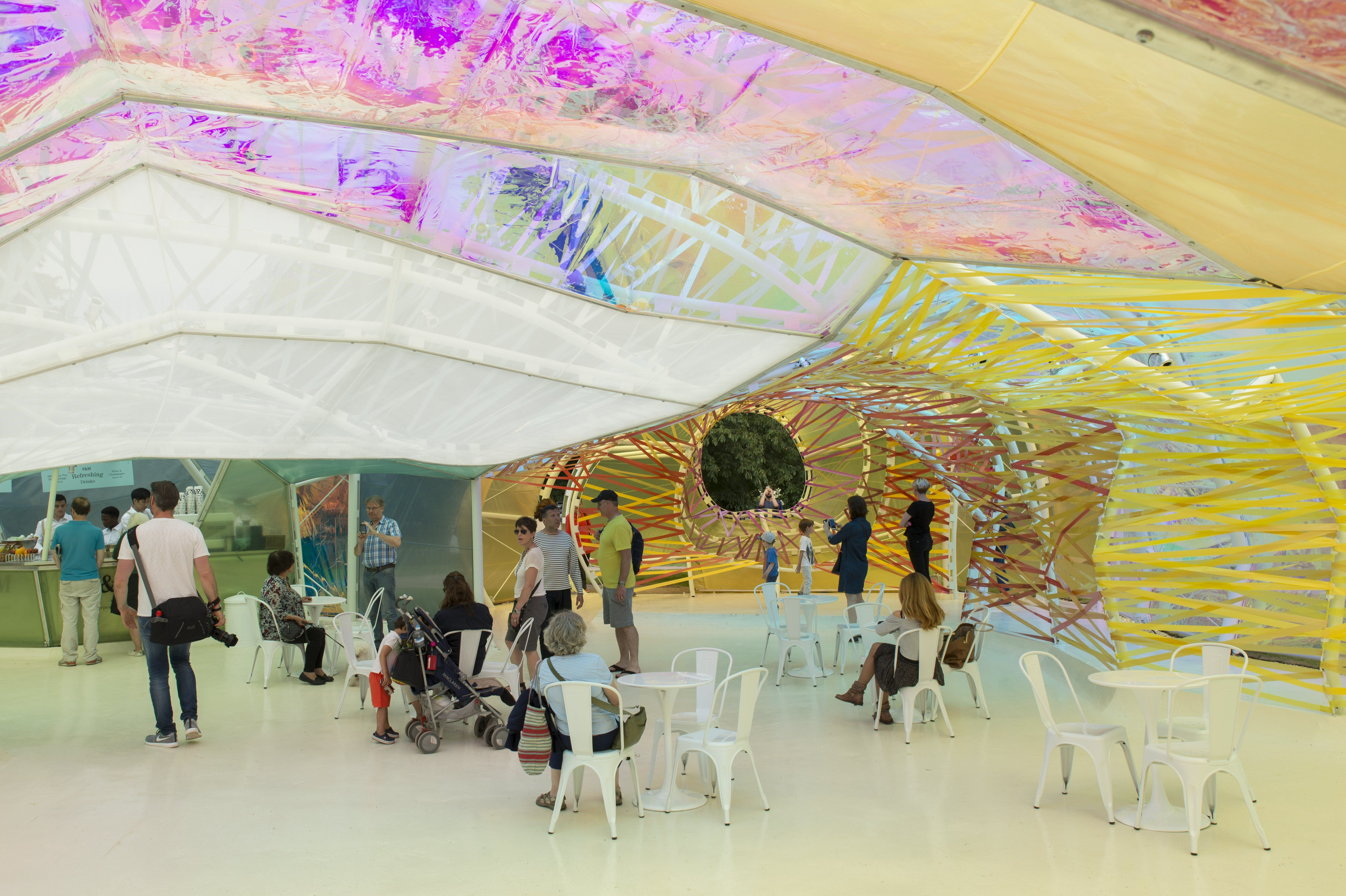 Colorful ETFE plastic forms the walls and ceiling of a small cafe