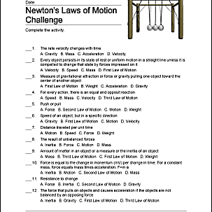 Newton's Laws of Motion - Homeschooling Exercises