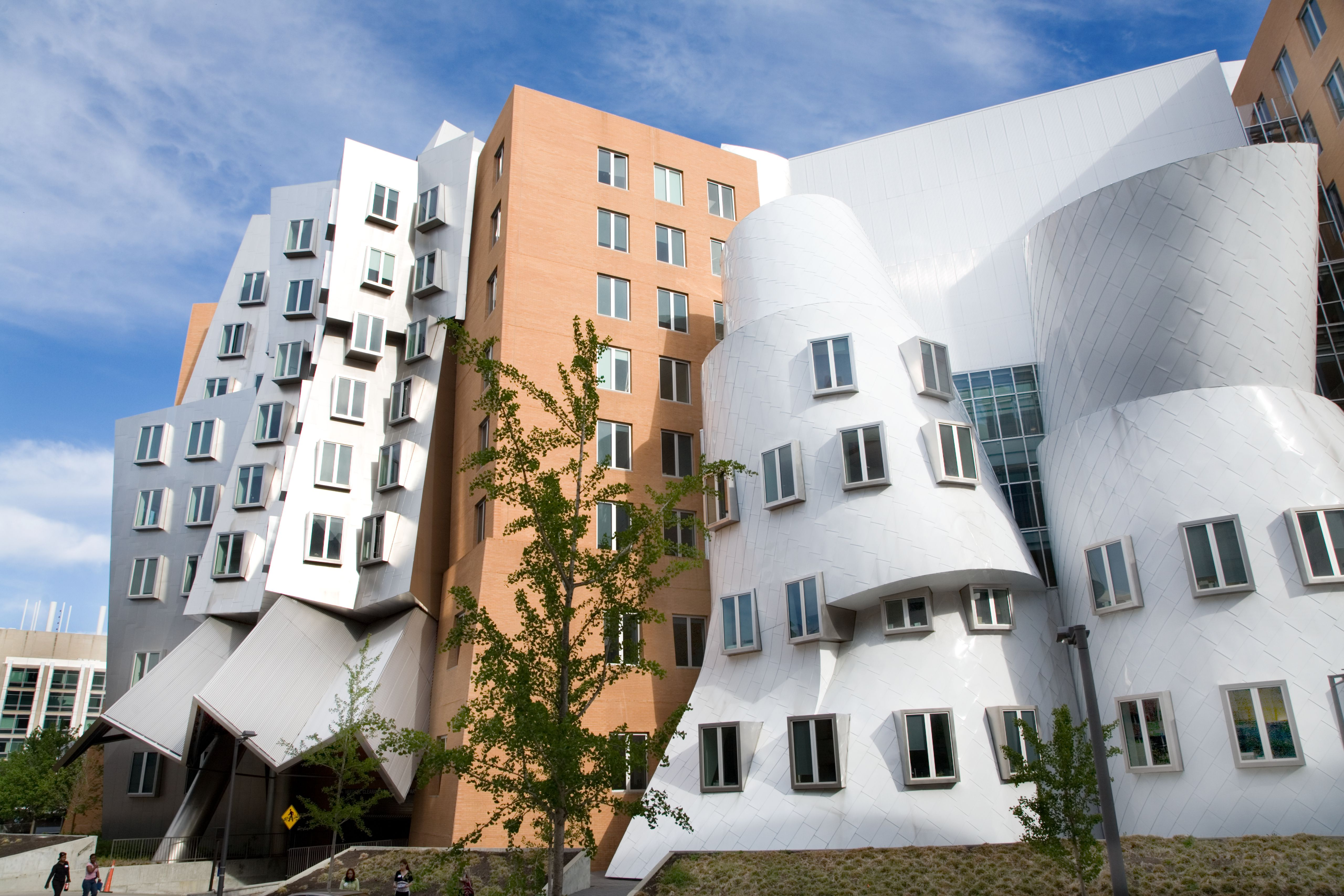 The Ray and Maria Stata Center, designed by Frank Gehry, is an odd jumble of lopsided buildings. The Center houses three departments
