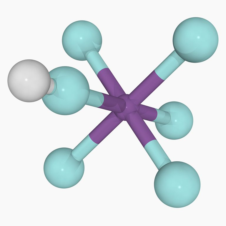 This is the two-dimensional chemical structure of fluoroantimonic acid, the strongest superacid.