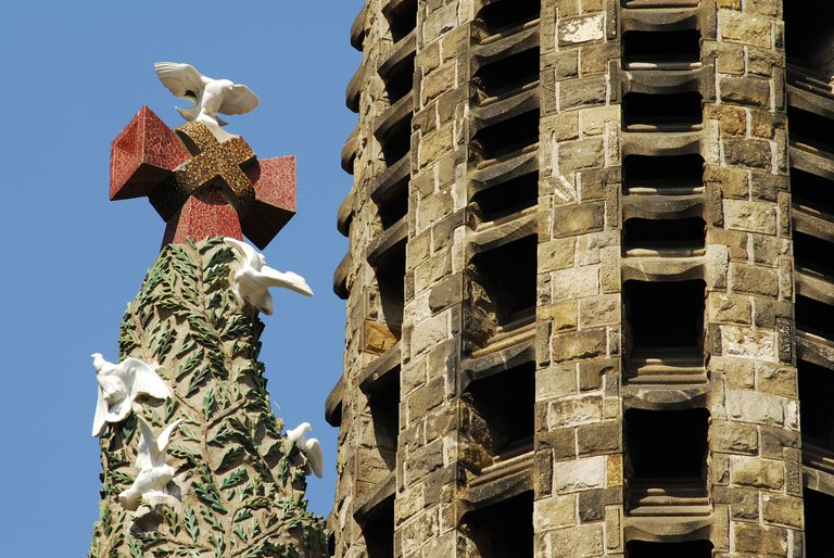 Detail of Gaudi's Sagrada Familia, exterior, white doves symbolizing purity