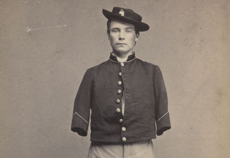 Photograph of Civil War soldier who lost both arms.