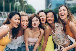 six smiling women