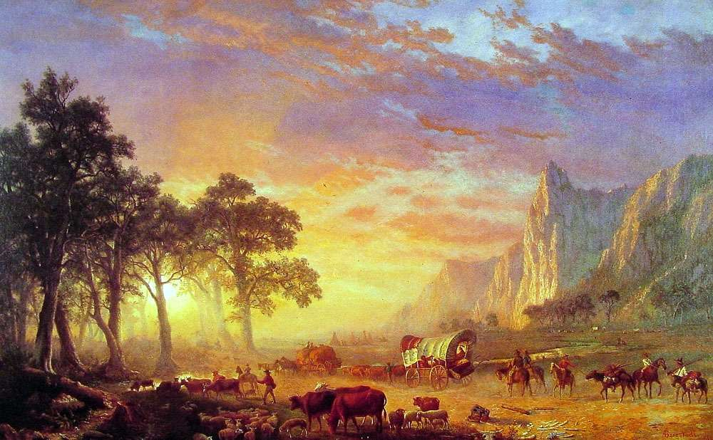 Painting of settlers on the Oregon Trail walking toward a beautiful sunset.