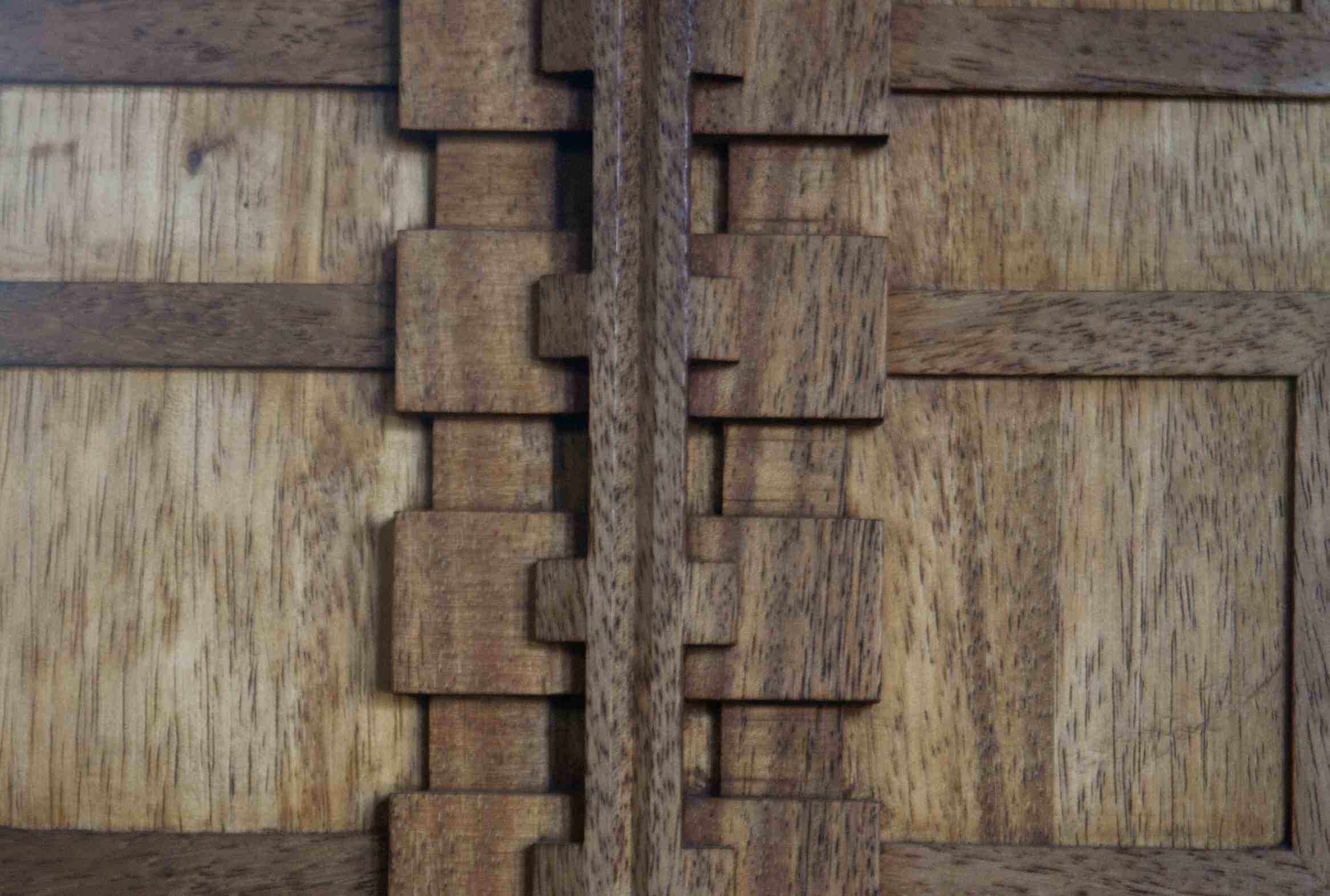 Detail of the geometric back of the dining room chair designed by Frank Lloyd Wright for the Hollyhock House