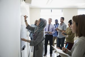 Classmates watching student in hijab writing on whiteboard
