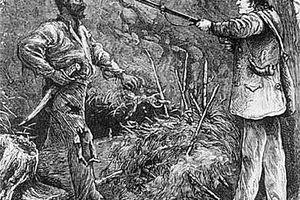 Illustration of Nat Turner resisting a white man.