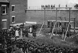 Photograph of hanging of the Lincoln conspirators.