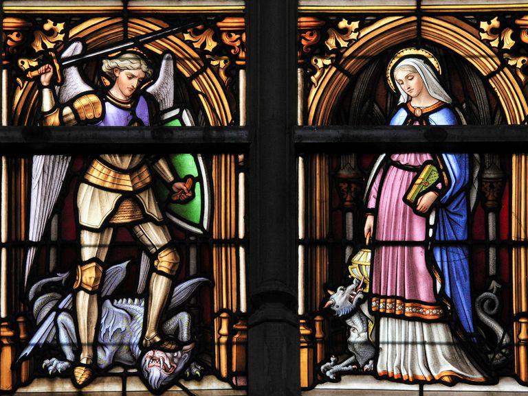 Stained Glass - Saint Michael and Saint Gudula, Patron