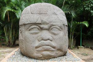 Olmec colossal stone head at La Venta Park, Mexico