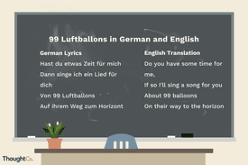 Lyrics for '99 Red Balloons' in German and English