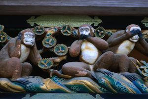 Carving of the three wise monkey, Nikko, Kanto, Japan