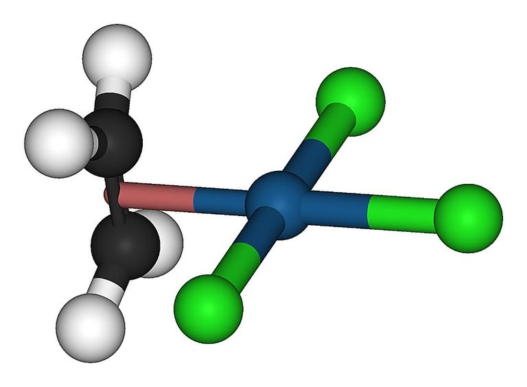 This is a ball-and-stick model of the anion of Zeise's salt.