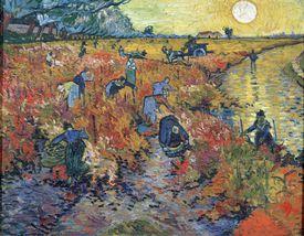 Painting by Vincent Van Gogh, The Red Vineyards at Arles, 1888
