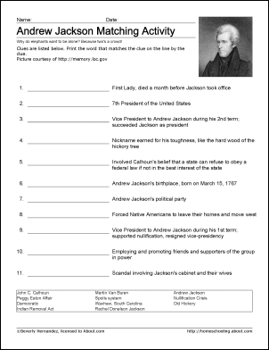 Andrew Jackson Wordsearch, Worksheets, Coloring Pages