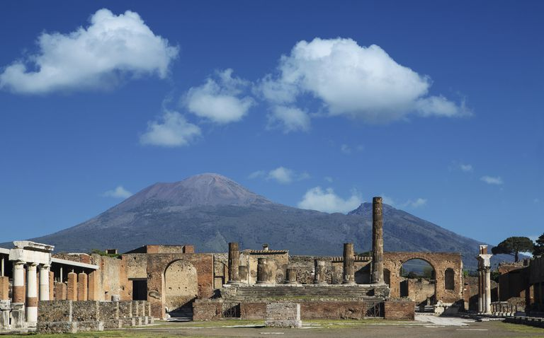 The Forum at Pompeii, with Vesuvius in the Backgrouund