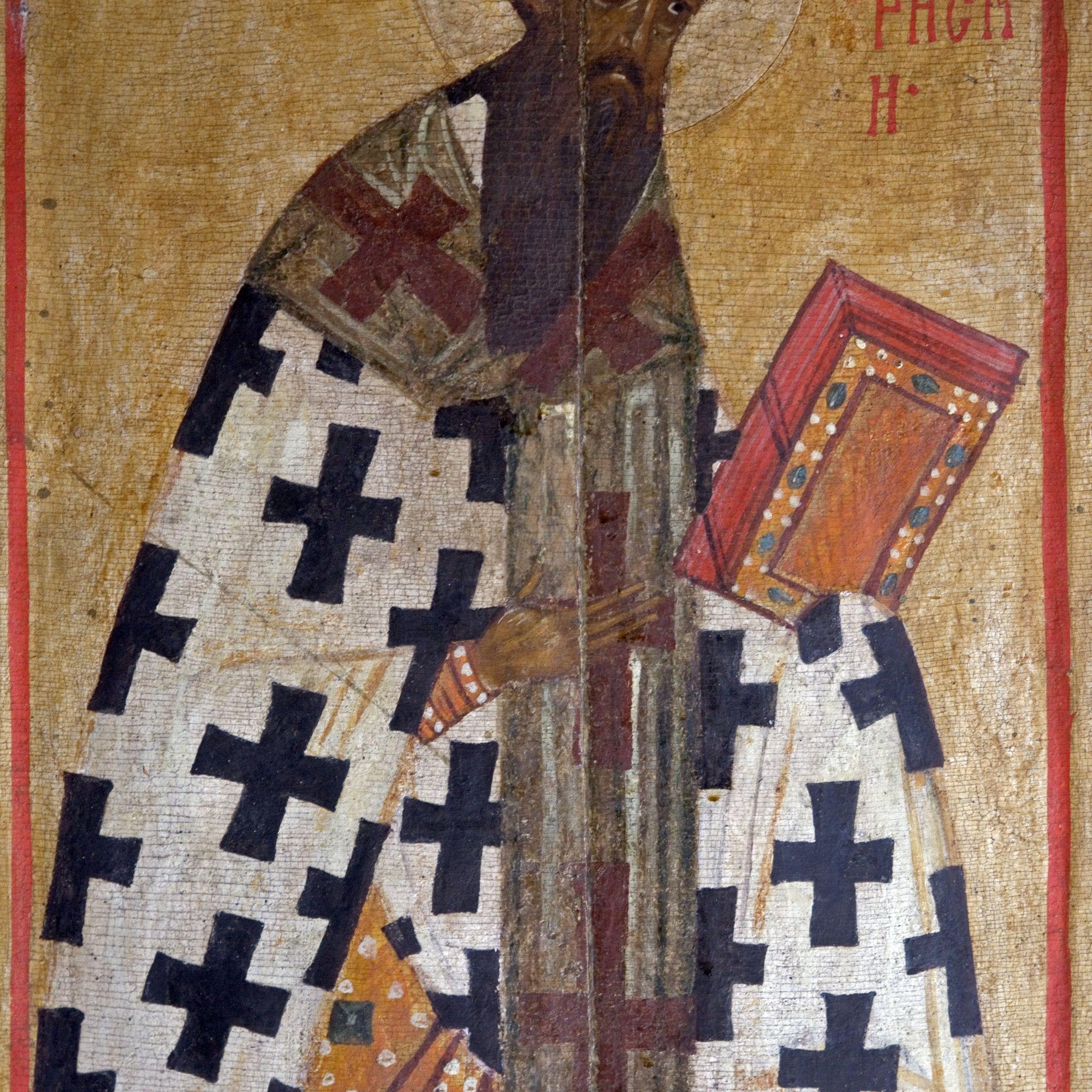 Russia, Carelia, Kizhi Pogost, icona sacra affresco nella chiesa della Trasfigurazione sull'isola di Kizhi