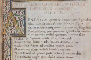 The beginning of a manuscript of Lucretius' De Rerum Natura
