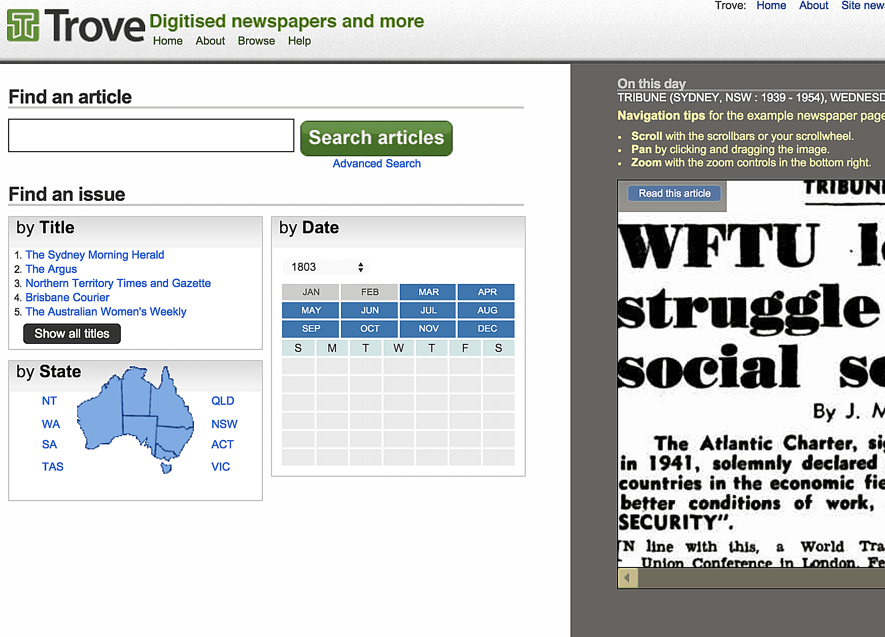 This free Australian online library database hosted by the National Library of Australia includes over 7 million searchable pages from historical Australian newspapers.
