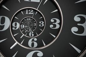 infinite spiral of clock faces