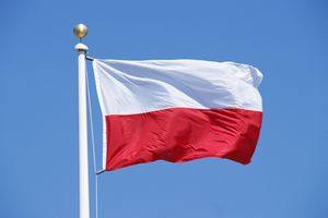 Poland's flag fluttering in the wind