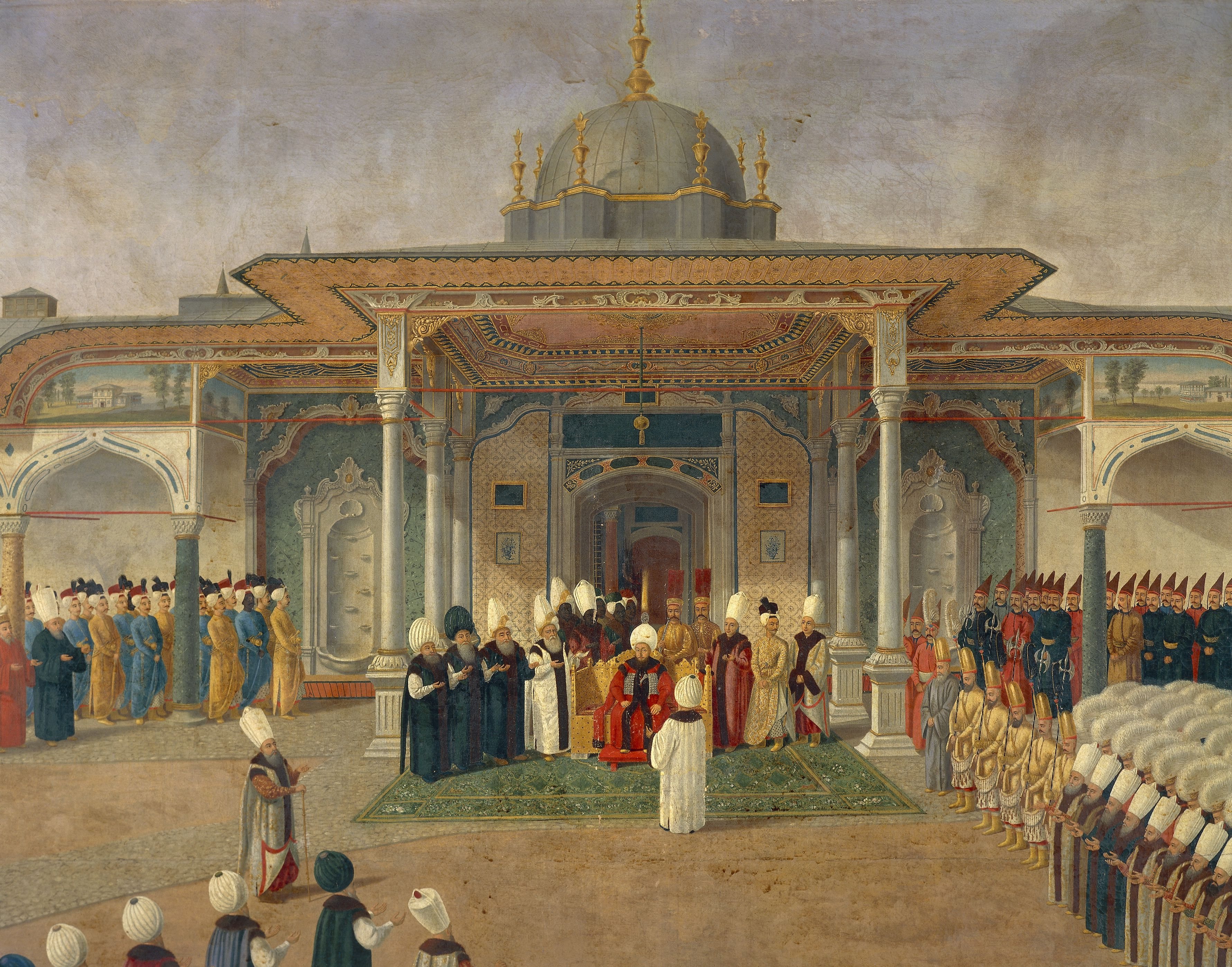 Selim III, detail from Reception at Court of Selim III at Topkapi Palace, gouache on paper, Detail, Turkey, 18th century