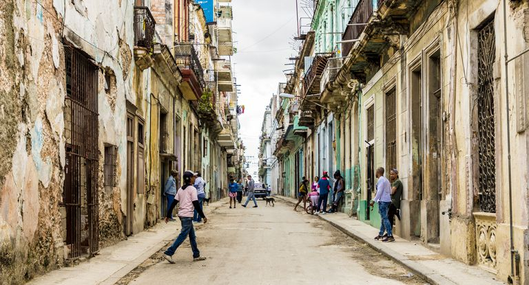 A typical street scene in Centro in Havana, Cuba