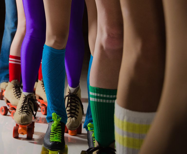 colorful roller skating legs