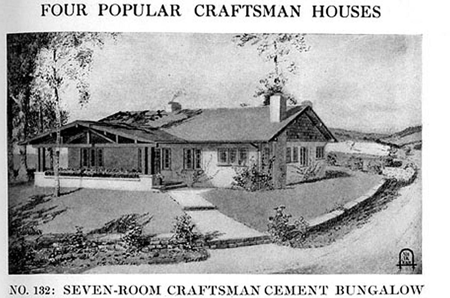 black and white illustration of No. 132 Seven-room craftsman cement bungalow from Craftsman Magazine