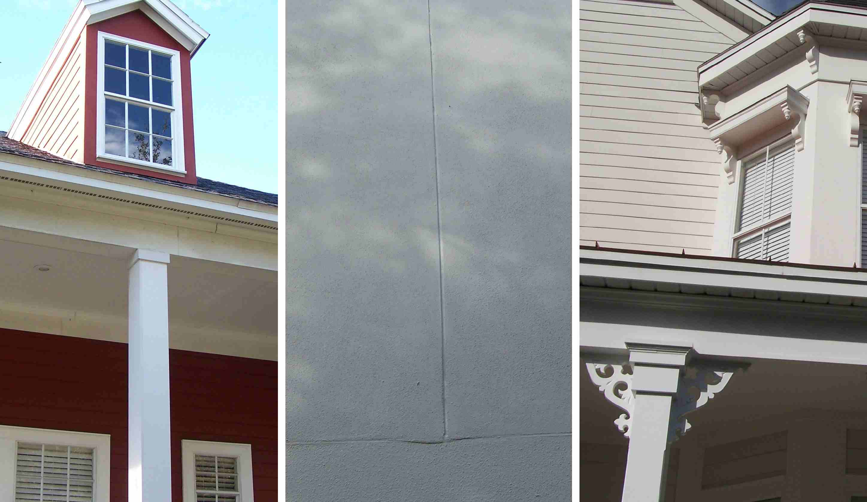 Three photos of house details in Celebration, Florida