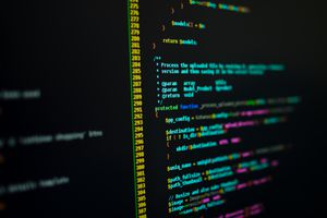 PHP Code on a screen shot with shallow depth of field