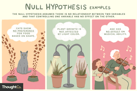 The null hypothesis assumes there is no relationship between two variables and that controlling one variable has no effect on the other. Three illustrated examples: Age has no effect on musical ability, Cats show no preference for food based on shape, Plant growth is not affected by light color