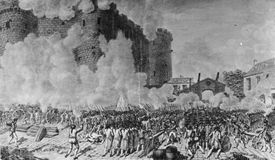 14th July 1789: French troops storming the Bastille during the French Revolution.