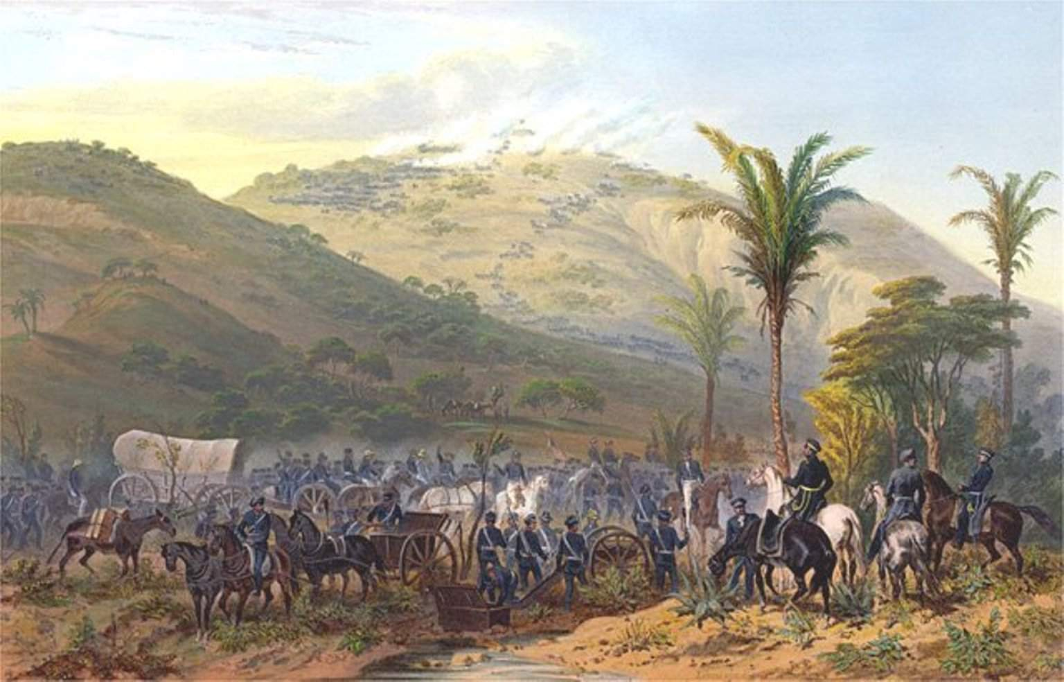 American troops in blue advance up a hill at the Battle of Cerro Gordo, 1847.