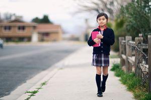 Student walking to school