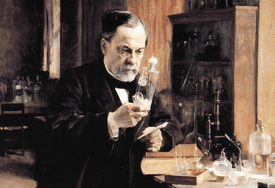 Illustration of Alfred Nobel in his laboratory in 1930.