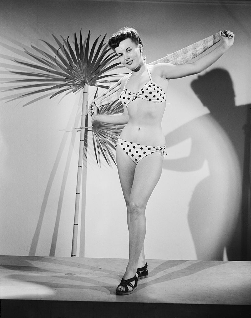 Young model Shirley Kephart poses in a spotted bikini, 16th January 1948