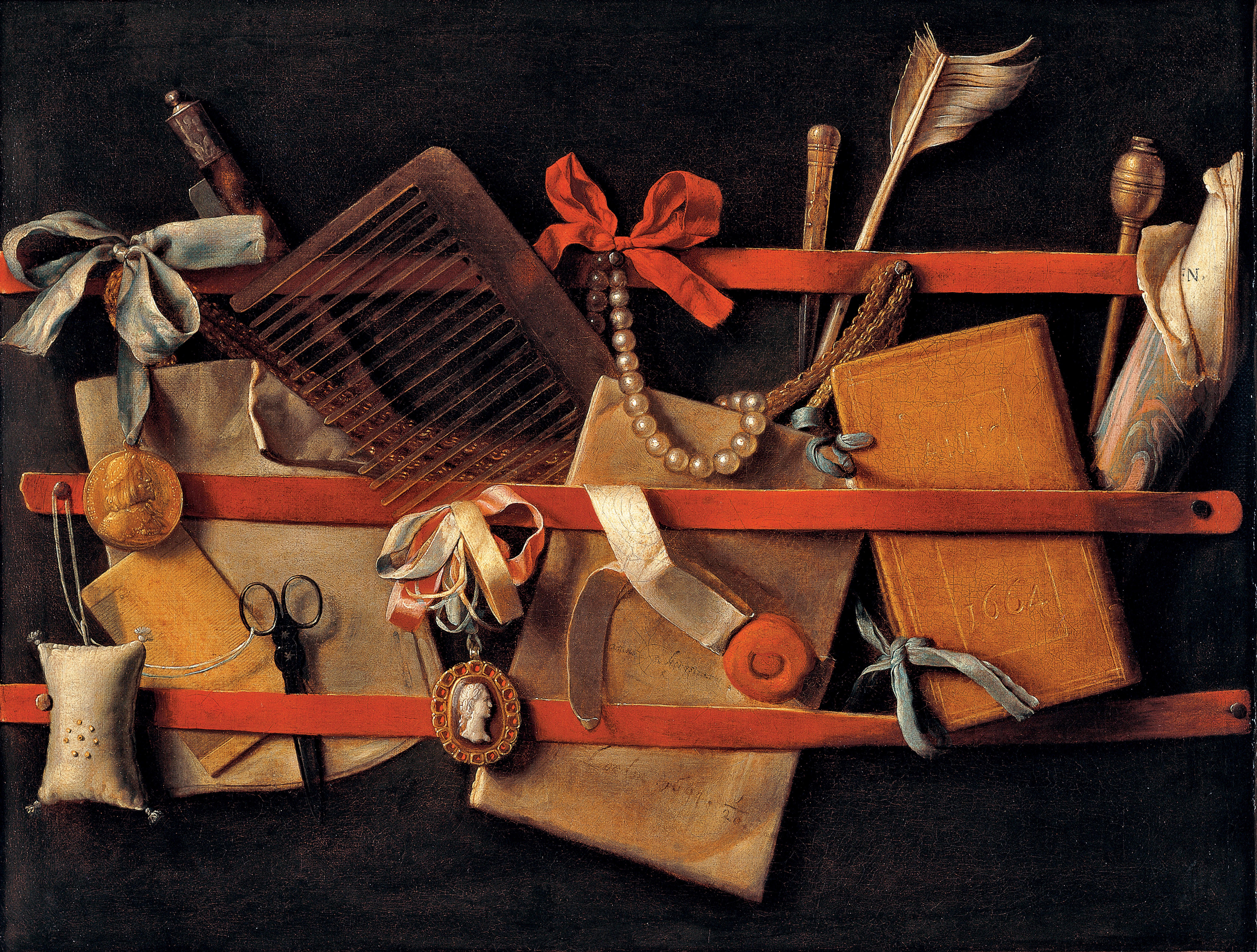 Realistic painting of notebooks, pearls, a comb, a feather, and other ephemera