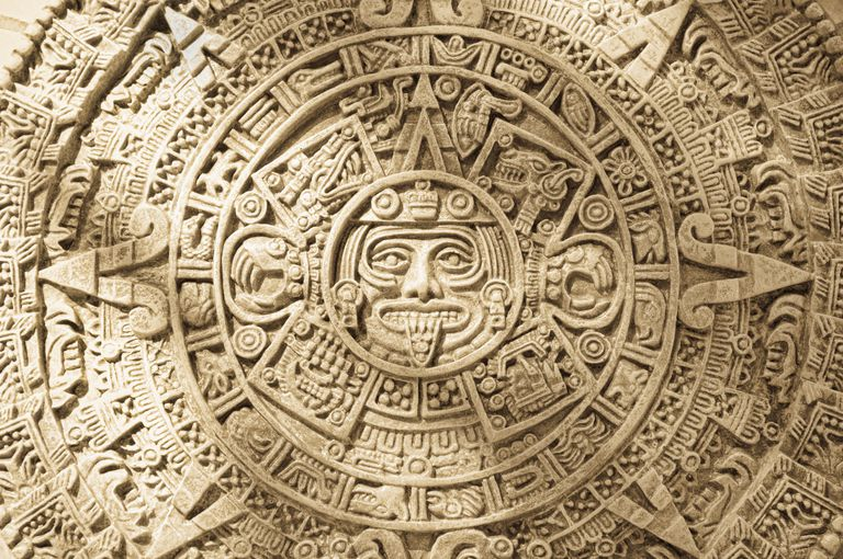 Close-up of Aztec Calendar stone carving