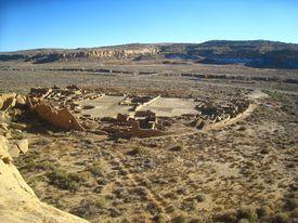 Overview of Pueblo Bonito, Chaco Canyon