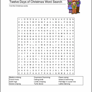 Twelve Days Of Christmas Printables Wordsearch More