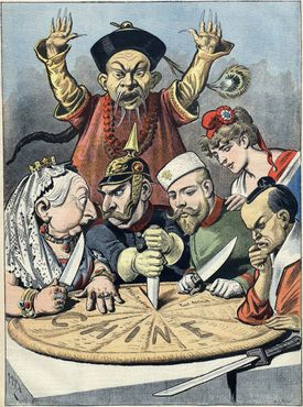 Great Britain, Germany, Russia, France, and Japan carve the Chinese pie into spheres of influence while a Manchu official looks on helplessly
