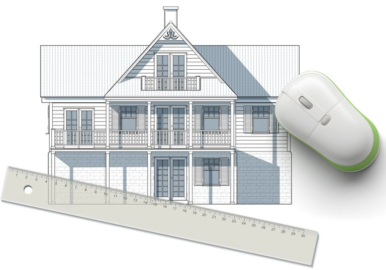 View drawing of a wooden house, computer mouse